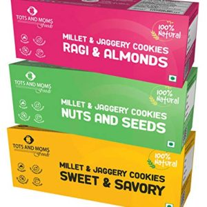 Millet & Jaggery Cookies for Kids - Ragi & Almonds, Nuts & Seeds, Sweet & Savory by Tots and Moms